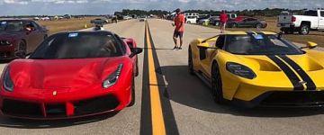 Vajon a Ferrari 488 Spider vagy az új Ford GT a gyorsabb?